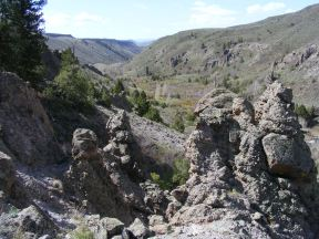 Looking past hoodoos downstream on East Elk Creek