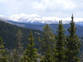 Snow-capped Rocky Mountains seen from the Lamphier Lake Trail