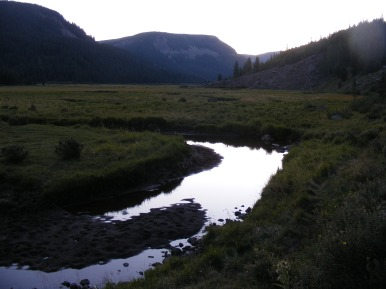 Sunset over the Second Meadows of Elk Creek