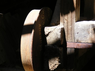 Close up of machinery in the lower wheelhouse on Pomeroy Gulch