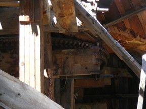 The interior of the lower wheelhouse on Pomeroy Gulch