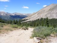 Looking down Pomeroy Gulch to the crest of the Sawatch Range