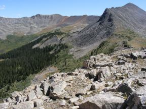 On the divide between Grizzly Gulch, seen below, and Pomeroy Gulch