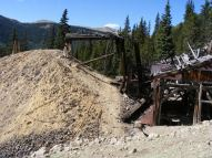 Tailings pile about the upper wheelhouse in Pomeroy Gulch