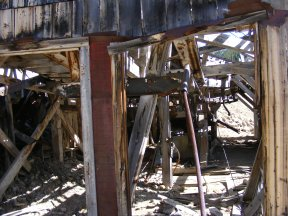 Where the flywheel turned the tram in the upper wheelhouse on Pomeroy Gulch