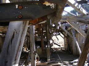 The workings of the machinery in the upper wheelhouse on Pomeroy Gulch are reminiscent of early ski lifts