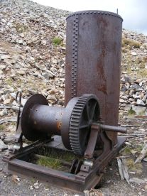 What might be an old hoist powered by the attached boiler at the Iron Chest Mine