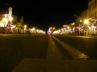 Main Street in Gunnison, Colorado, lit up for the Holiday season