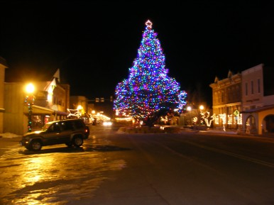 The holiday tree erected by the City of Gunnison
