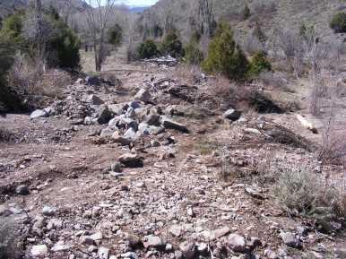 Some of the eroded debris that was washed down from the previous year's thunderstorm