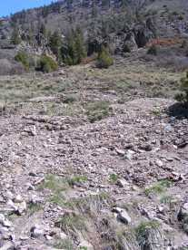 The easily eroded breccia, with concomitant hoodoos, from which the rocks came
