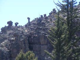 Pinnacles and columns of rock eroded from the West Elk breccia, seen above East Elk Creek