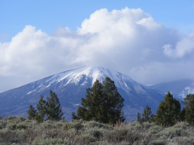 Carbon Peak, yet clad in snow about its summit