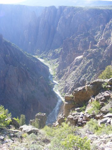 The Gunnison River some two thousand feet below the north riim