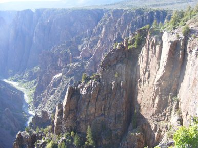 The ancient gneiss of the Black Canyon of the Gunnison resists erosion