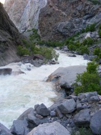 The Gunnison River's steep descent through the Black Canyon