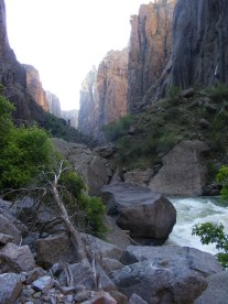 The Black Canyon of the Gunnison, majestic, in the early morning sun as the Gunnison river thunders by