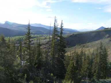 Looking north above Almont. Red Mountain left center, Round Mountain to the right and the Elk Mountains in the distance