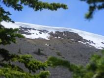 A cornice of snow above Baldy Lake