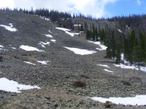 Talus slope with a bit of snow extant