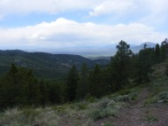 Looking west over Hicks Gulch, Tomichi Dome to the right