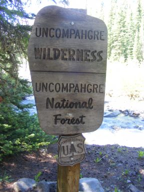 The Uncompahgre Wilderness boundary, managed by the National Forest of the same name