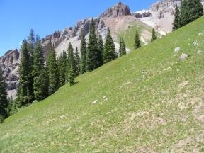 Multi-colored rock above Porphyry Basin