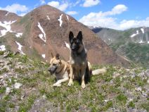 Draco and Leah on Cascade Mountain, Mineral Point beyond