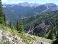 Hiking down the Crystal Lake Trail, above Slaughterhouse Gulch