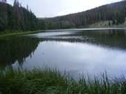 Waterdog lake reflecting a gray sky