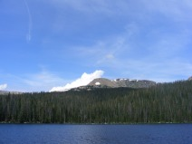 Thunderhead gathering beyond the Great Divide, above Timberline Lake