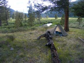 Camp on Texas Creek near Waterloo Gulch