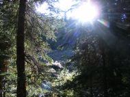 Sun just over a ridge above Waterloo Gulch, Gunnison National Forest