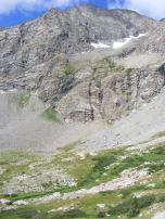 Snow clinging to recesses above Waterloo Gulch in the Sawatch Range