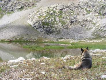 Leah at the upper pond on Waterloo Gulch