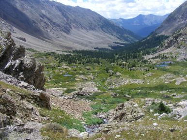 The glaciated form of Waterloo Gulch, in the Collegiate Peaks Wilderness of Colorado