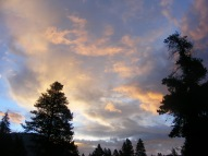Clouds aglow with morning's welcome