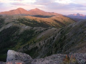 Sunset on the Great Divide south of Mount Peck