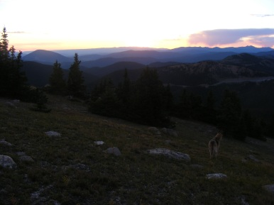 Sun beyond the West Elk Mountains, Tomichi Dome to the left
