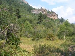 A basaltic outcropping in the South Fork Canyon