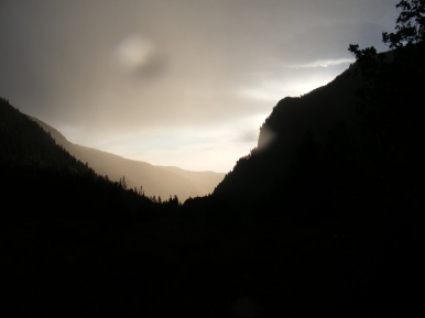 Looking down the South Fork Canyon on a damp evening