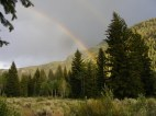 Sunset rainbow across South Fork Canyon
