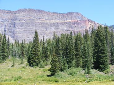 Spectacular cliff above Marvine Creek showing multiple basaltic flows