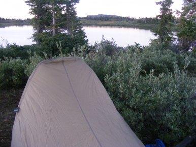 Camp at dusk, Twin Lakes, The Flat Tops of Colorado