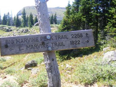 Signage, with the namesake mountain
