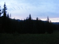 Dawn over East Marvine Creek in the Flat Tops Wilderness