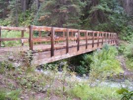The bridge across East Marvine Creek