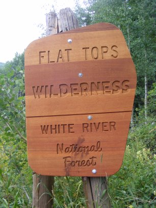 The Flat Tops Wilderness boundary on Lily Pond Trail No. 1811