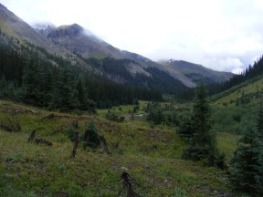 My first view of Uncompahgre Peak, to the left, with fresh snow