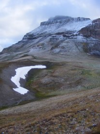 A patch of perpetual snow below Uncompahgre Peak in the upper reaches of El Paso Creek